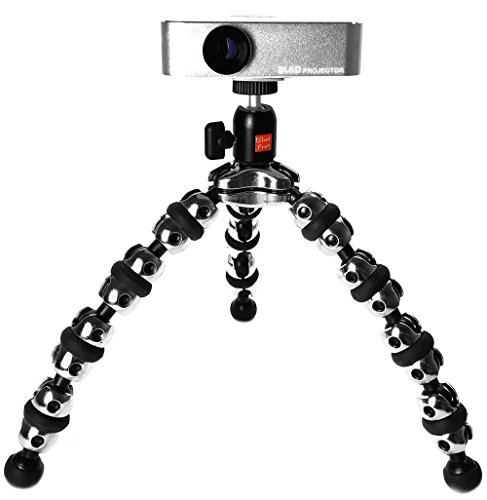 iShot Pro TigerPod Pocket Projector Flexible Tripod Stand Holder & 360° Locking Swivel Ball Head Bundle Kit - Premium Machined Aluminum Flexible Tripod Stand PPG-POD
