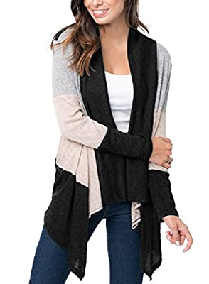 Sidefeel Women Casual Color Block Open Front Long Sleeve Knit Cardigan