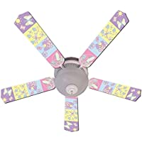 Pastel Butterfly and Friends Designer 52in Ceiling Fan Blades Set - Multi Ceiling Fan Design Pull Clementine Light Chain Lamp Choice Svitlife
