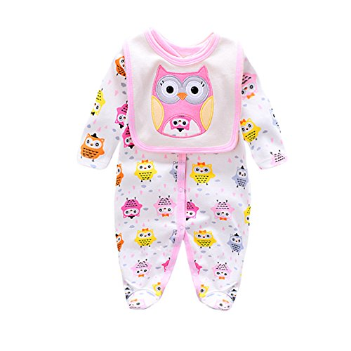 Onesies Baby Girl Newborn Clothes Long Sleeve Coming Home Outfit Unique Bodysuit with Baby Bibs Burp Cloths Sets Cartoon Owl 9 Months