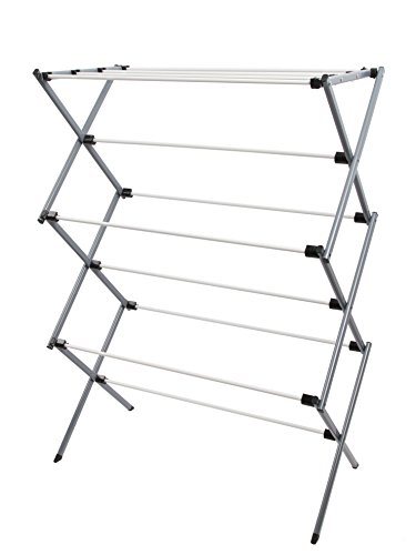 Finnkarelia Premium Foldable Drying Rack 42 inches Rust Proof Collapsible Compact Portable Steel Stand Towel Kid Clothes Hanging Wet Laundry Dryer Spacesaver Balcony Indoor Diaper White
