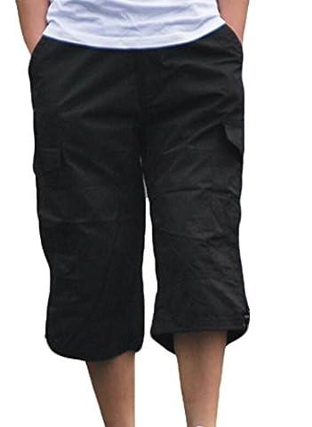 Zago Men's Outwear Multi Pockets Cargo Shorts Work Capri Pants Black US XL