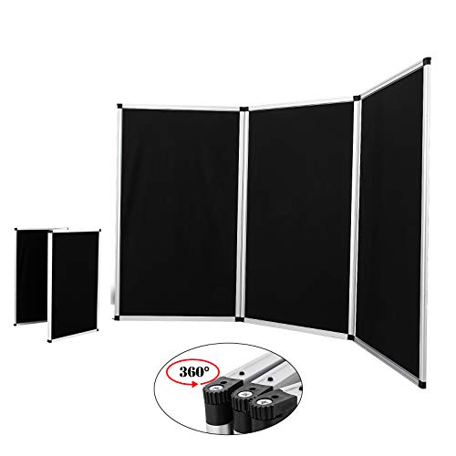 VEVOR Trade Show Display 3 Panel Panel Screen Each Panel is 70.5x35.5 Inches Folding Screen with Gray Velcro-Receptive Fabric 3 Panels