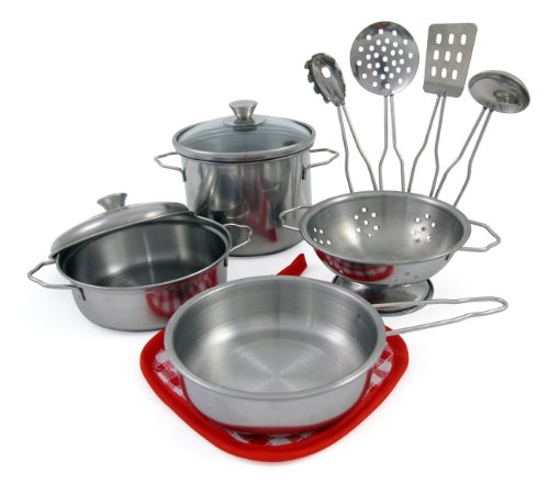 Liberty Imports Metal Pots and Pans Kitchen Cookware Playset for Kids with Cooking Utensils ()