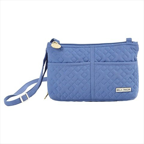 Heritage Blue Microfiber Quilted Cotton Cross Body Wallet With Adjustable Strap 5 5 X 8 X 2 5 Inches