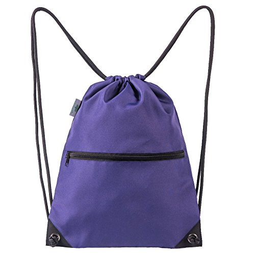 HOLYLUCK Men & Women Outdoor Sport Gym Sack Drawstring Backpack Bag - Purple