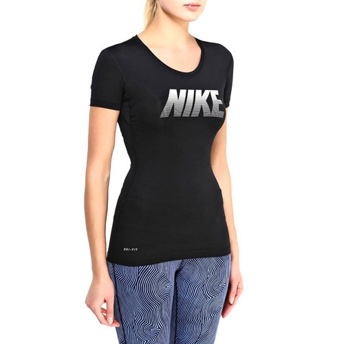 Nike Pro Graphic Women's Short Sleeve Top - Black/White 725747-010
