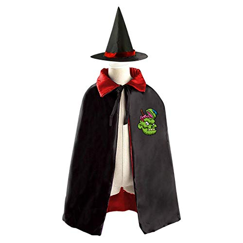 69PF-1 Halloween Cape Matching Witch Hat A Cracked Brain Wizard Cloak Masquerade Cosplay Custume Robe Kids/Boy/Girl Gift Red -