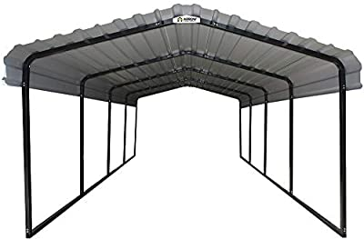 Arrow CPH101507 Steel 10 x 15 x 7 ft. Galvanized Black/Eggshell Carport and Accessories, 10' x 15' x 7 by Arrow