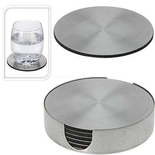 0o1smanhol Kitchen Mat Pot Holder Cup Mat Multi-Function,6Pcs/Set Stainless Steel Round Heat Insulation Coaster Mug Cup Pad Table Mat Durable Waterproof ()