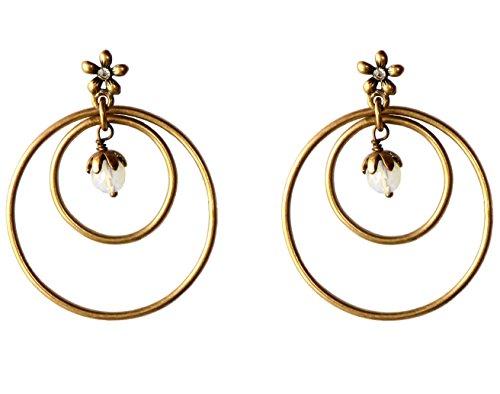 nulla eccessories Double Hoop Boho Earrings with Funky Flower Ear Post, (Double Flower Hoop)