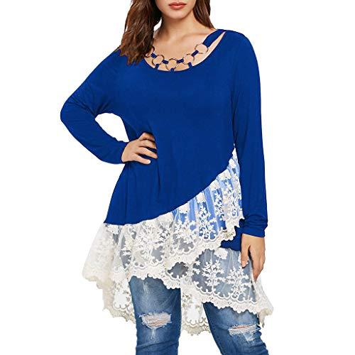 Shusuen ✿‿✿ Tops for Women Casual Lace Trim Layered T-Shirt O-Neck Plus Size Tunics Ring Cross Bandage Blouse