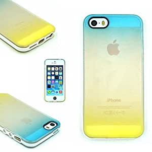 DUR TPU+PC Two in One Blue/Yellow Gradient Back Cover Case for iPhone 5/5S