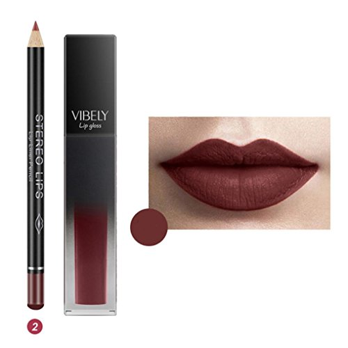 Lipstick Liquid Bloom (LiPing Non-stick Cup Waterproof Supple Matte Lip Gloss Liquid Long Lasting Lipstick Makeup Stick Pencil Cosmetics Set/Rich colors/Long-lasting moisture/Bloom young color (B))