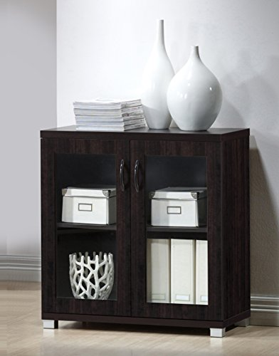 Baxton Studio Wholesale Interiors Zentra Sideboard Storage Cabinet with Glass Doors, Dark Brown (Sideboard Glass)