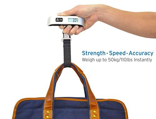 Etekcity Digital Hanging Luggage Scale, Rubber Paint, Temperature Sensor, 110 Pounds, Silver