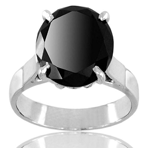 Round Cut 5.05 Ct Black Diamond Certified Solitaire Silver Ring for Men's Jewelry by Barishh