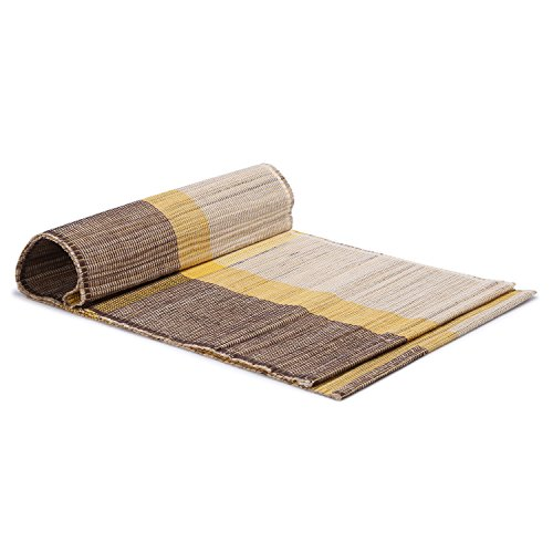 (ShalinIndia Natural Woven Eco Home Banana Bark And River Grass Cross Small Table Runner 13x45 Inch-Kitchen Dining Home Décor-With A Cloth Bag,Yellow)