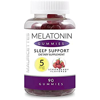 Melatonin Gummies for Kids and Adults Sleep Aid - 5mg Per Serving - 90 Gluten Free Strawberry Flavored Gummy Vitamins