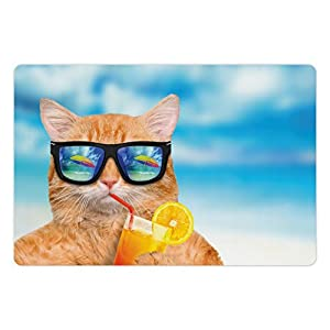 Lunarable Funny Pet Mat for Food and Water by, Cat Wearing Sunglasses Relaxing Cocktail in the Sea Background Summer Kitty Image, Rectangle Non-Slip Rubber Mat for Dogs and Cats, Blue Ginger