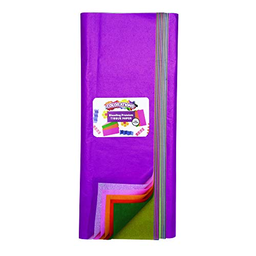 Colorations Bleeding Art Tissue, 50 Sheets, 20 inches x 30 inches, 20 Assorted Colors, Watercolor, Collage, Arts & Crafts, Mess-Free Paint Alternative