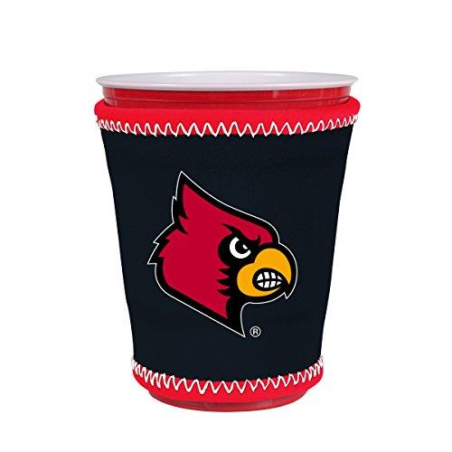 Kolder NCAA Logo Coolie Kup Holder Sleeve Fitting Plastic Cups, Pint Glasses, Coffee Cups, Ice Cream, Etc. - Neoprene and Bottomless (Louisville Cardinals)