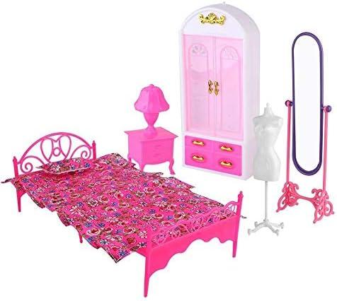Aelooa 2種類のピン人形ドールハウスプリンセスルームスタイル用プラスチックドールハウスの家具セット