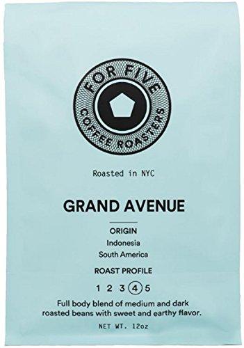 For Five Coffee Roasters Grand Ave Roast Dark Roast (Origin: Indonesia & South America), Ground 12 oz by For Five Coffee Roasters
