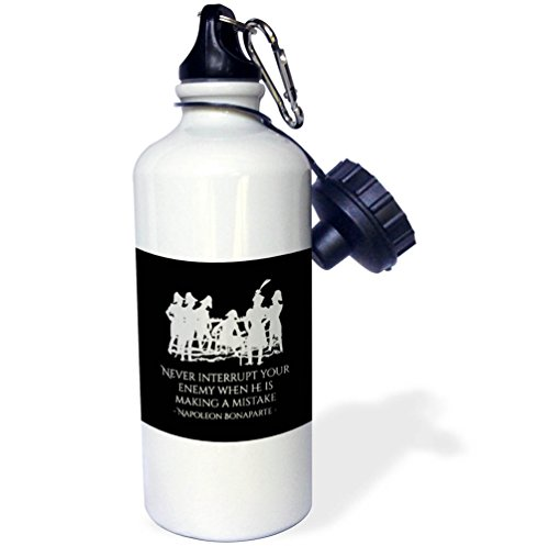 3dRose Alexis Design - Quotes Napoleon - Napoleon Bonaparte Never interrupt your enemy on black - 21 oz Sports Water Bottle (wb_281119_1) by 3dRose
