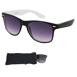 Wayfarer Sunglasses - Smoked Lenses with Black Plastic Frames, White Interior - UV Ray Protected Shades For Men & Women - By Optix 55