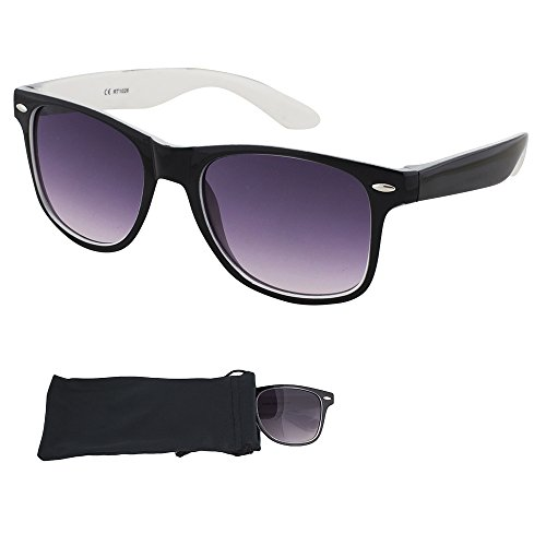 Wayfarer Sunglasses - Smoked Lenses with Black Plastic Frames, White Interior - UV Ray Protected Shades For Men & Women - By Optix - Express Sunglasses