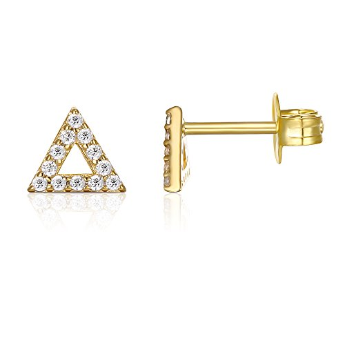 PAVOI 14K Gold Plated Sterling Silver CZ Diamond Delta/Triangle Stud Earrings (Yellow)