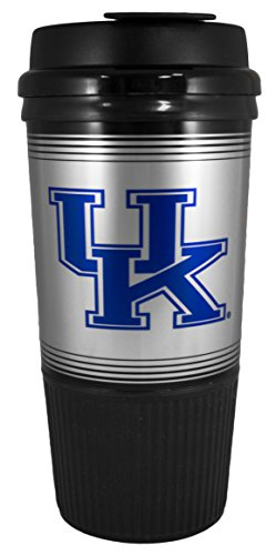 GameDay Novelty NCAA Kentucky Wildcats Insulated Platinum Gripper Travel Tumbler with No Spill Flip Lid, 16 oz