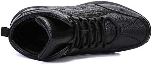フェイクファーの裏地人工皮革耐久性に優れたノンスリップ暖かいアウトドアシューズのためのメンズレースアップカジュアル冬の寒い天気の靴のためのスノーブーツ (色 : 黒, サイズ : 25 CM)