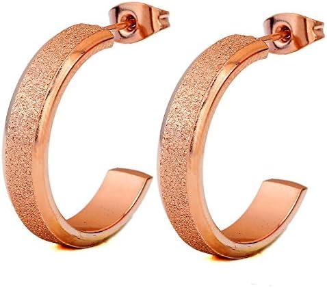 MDGWM Mode Persönlichkeit Rose Gold Titan Stahl große Ohrringe Ohrringe, matt Edelstahl Ohrringe, Exquisite Verarbeitung, nur um Ihre Rose Gold zu Machen