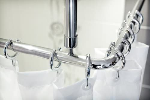 Tropik Home Shower Curtain Rail Rod 4 Way Use L Or U Shape With Ceiling Mount And Semi Open Ring Chrome