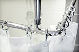 Shower Curtain Rail/Rod, 4 Way Use, L Or U Shape With Ceiling Mount And  Semi Open Ring (Chrome)