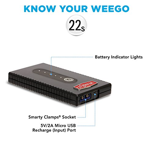 WEEGO 22s Jump Starter 1700 Peak 300 Cranking Amps Compact High Performance Lithium Ion USA Designed and Engineered by Weego (Image #3)'