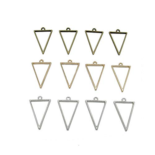 (18 Pcs 3 Color Triangle Open Bezel for Resin, Zinc Alloy Open Back Bezel Pendant Blanks with 1 Loop for Jewelry Making)
