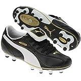 a74d7dbecf8 Kids Puma King XL I FG JR 10158901 Blk Wht TeamGold Leather Soccer Cleats