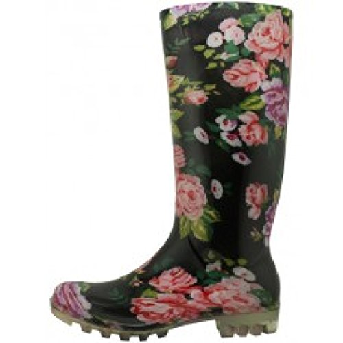 Boot Roses 18 Womens Classic Shoes Print Rain qfIZnS