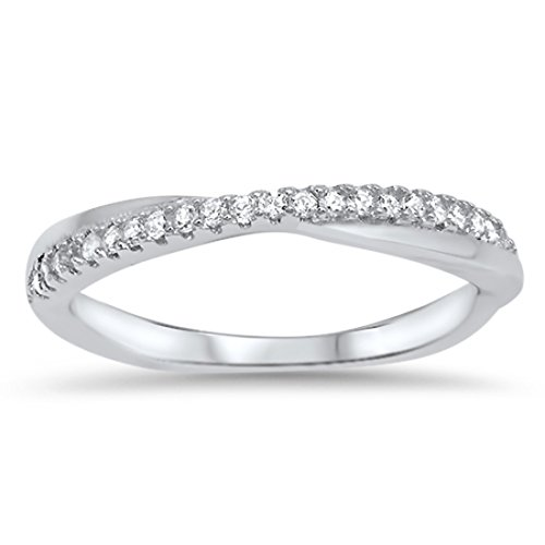Crisscross Crossover Trendy X Ring Pave Round Cubic Zirconia 925 Sterling Silver Half Eternity, Size-5 ()