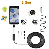 5.5mm 6LED IP67 Endoscop Camera,3.0 Megapixel Waterproof Camera, for Android Smartphone and Computer, Soft Wire/Hard LLine(1m 2m 3m 5m) (Color : Soft line, Size : 5m)