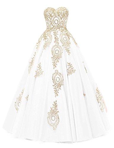 LMBRIDAL Women's Appliqued Quinceanera Dress Sweetheart Birthday Ball Gown White E Custom