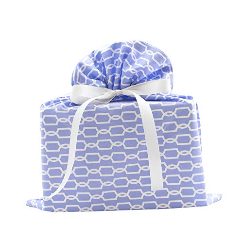 Geometric Reusable Fabric Gift Bag for Birthday, Mother's Day or Any Occasion (Periwinkle, Medium 17 Inches Wide by 18.5 Inches ()