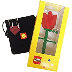 "Lego Valentine Heart Necklace and Red Rose Bundle (2) Dark Red Modified 3 x 2 Plates (1) Black Velvet Drawstring Pouch (2) 24"" Nickel Plated Ball Chains and (1) Red Rose"
