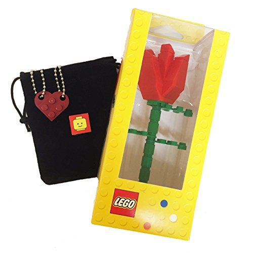 Lego Valentine Heart Necklace and Red Rose Bundle (2) Dark Red Modified 3 x 2 Plates (1) Black Velvet Drawstring Pouch (2) 24