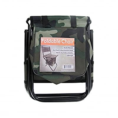 Camouflage Foldable Camping Stool Chair with Zippered Gear Pouch - Youth Size