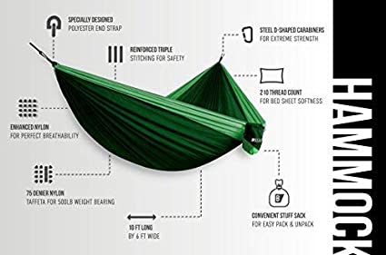 Bear Butt Lightweight Double Parachute Portable Two-Person Camping Hammock