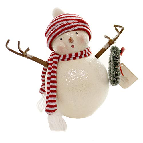 - Christmas Retro Frosty with Wreath Polyresin Knit Hat Scarf Snowman Sn7467